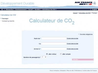 Calculateur CO2 Air France