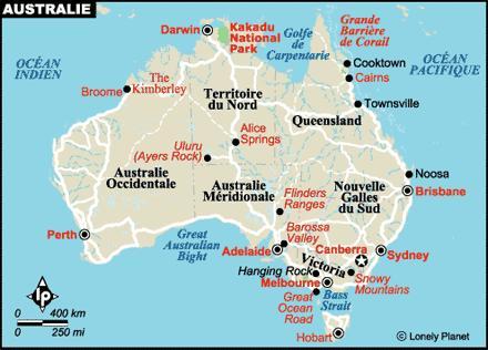 Carte de l'australie - source Lonely Planet