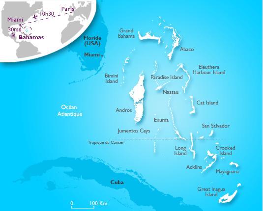 Carte des Bahamas - Source TOORISM