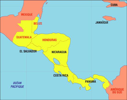 Carte de l'Amérique Centrale