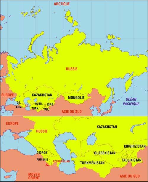 Carte de l'Asie du Nord et de l'Asie Centrale