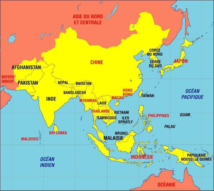 Carte d'Asie du Sud