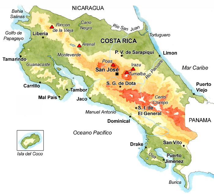 Carte du Costa Rica - Source : Imagenes Tropicales SA