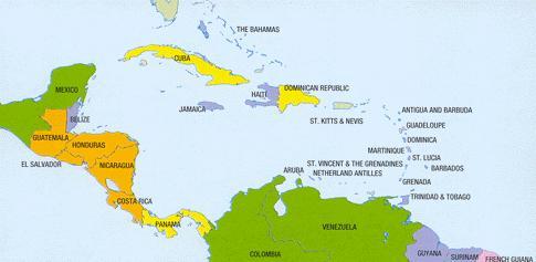 Carte des pays membres de la Caraibe