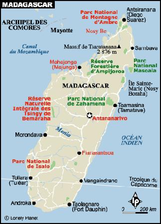 Carte de Madagascar - Lonely Planet