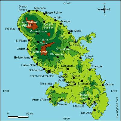 Carte de la Martinique - Source Mount-pelle.com