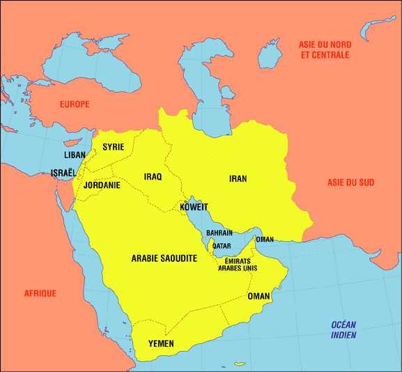 Carte du Moyen Orient