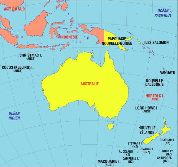 Carte de l'océanie ou Pacifique