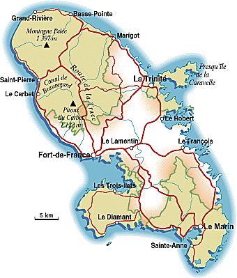 Carte du PNR de la Martinique