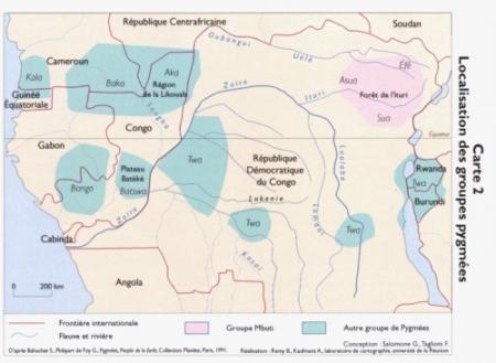 Carte des Pygmées AKA