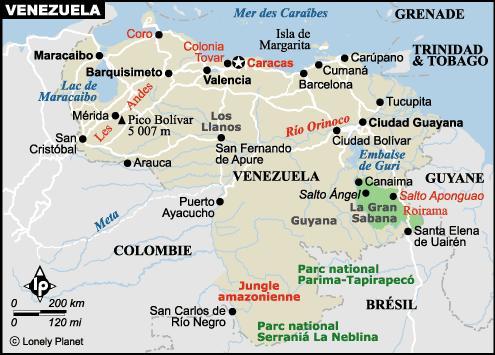 Carte du Vénézuela - source Lonely Planet