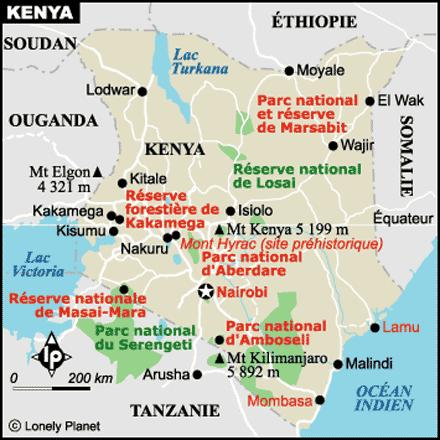 Carte du Kenya - Source Lonely Planet