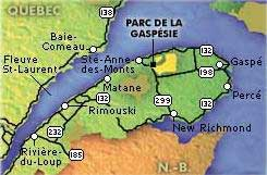 Carte du Parc National de la Gaspésie