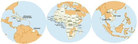 Les pays de la ZSP (Zone de Solidarité Prioritaire)