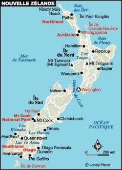 Carte de la Nouvelle Zélande