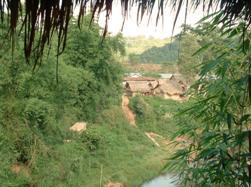 Bras de rivière passant à Vieng Phoukha