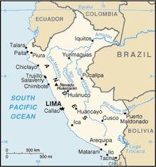 carte du Pérou  - amérique du sud
