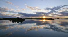 islande et coucher de soleil