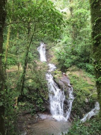 Vue sur la rivière Ixpil, dans la réserve du Refuge du Quetzal, ouest du Guatémala