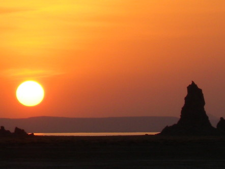 Coucher de soleil sur le lac Abbé @G.Clastres