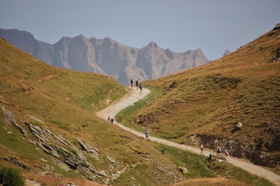 Famous leisurely hike in the Vanoise national park mountains