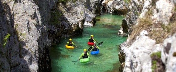 Kayaking on the emerald river Soca_sLOVEnia