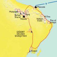 Montagnes, dunes et océan carte d'oman