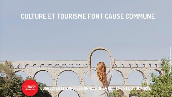 Le site du Pont du Gard avec comme slogan 'Culture et tourisme font cause commune' © Maia Flore - Agence VU - Atout France