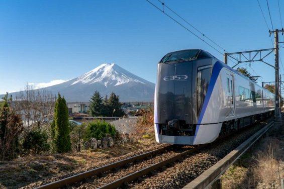le Shinkansen, le TGV japonais avec le mont fuji en arrière fond