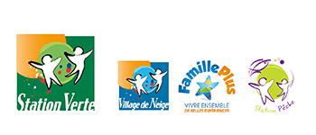 les 4 labels associés : station verte, village de neige, famille plus et station pêche