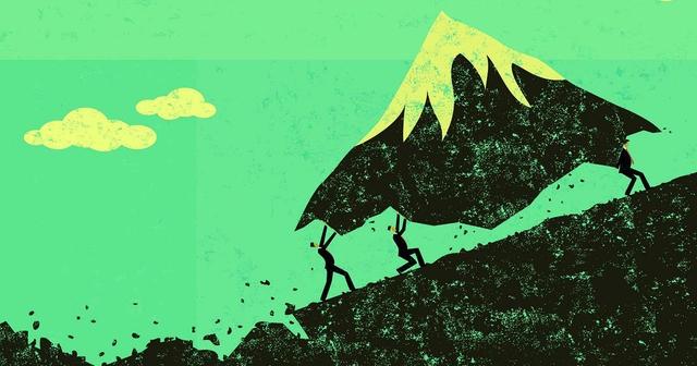 illiustration des hommes portant une montagne sur une colline
