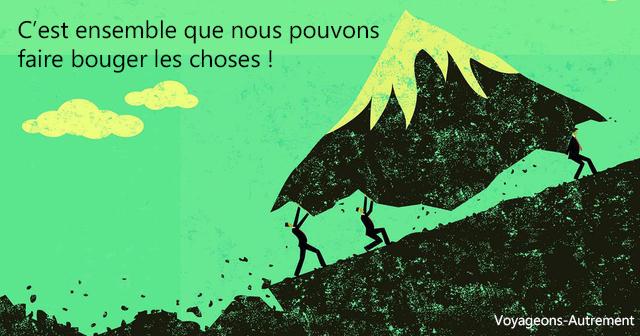 Illustration, d'hommes qui portent sur leurs épaules une montagne