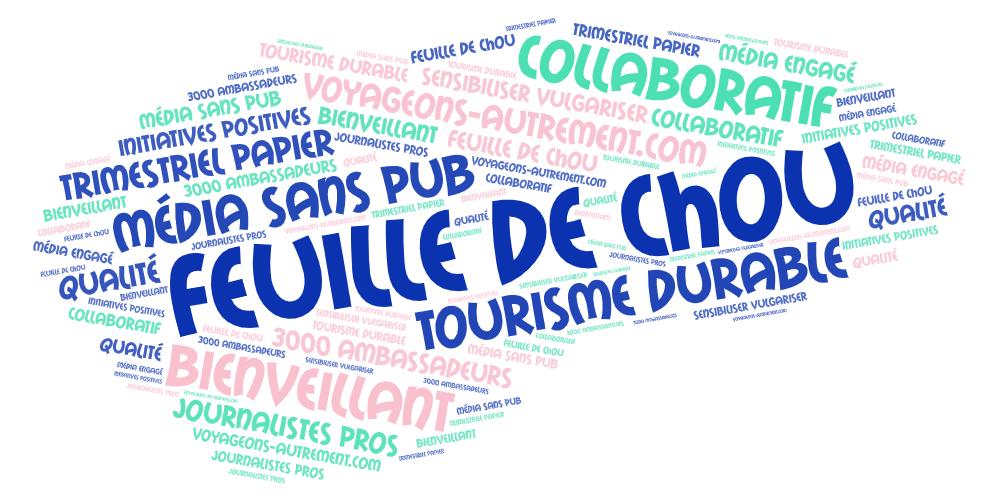feuille de chou, média trimestriel tourisme durable, nuage de mots