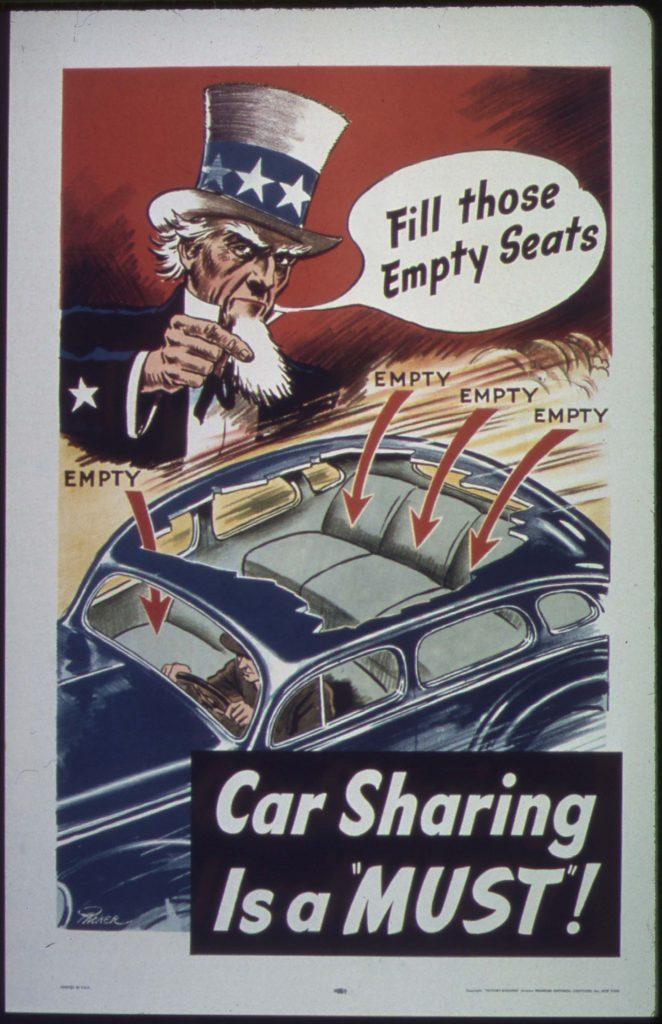 Affiche de propagande faisant la promotion du covoiturage « Car sharing is a must, fill those empty seat »