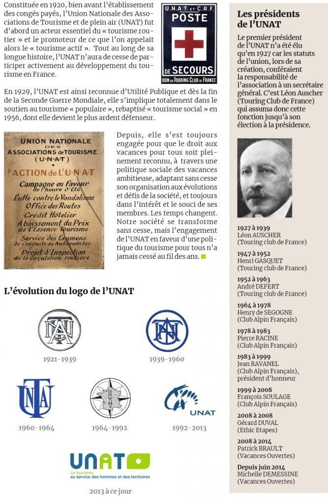 Histoire de l'UNAT avec une frise des différents présidents et l'évolution du logo