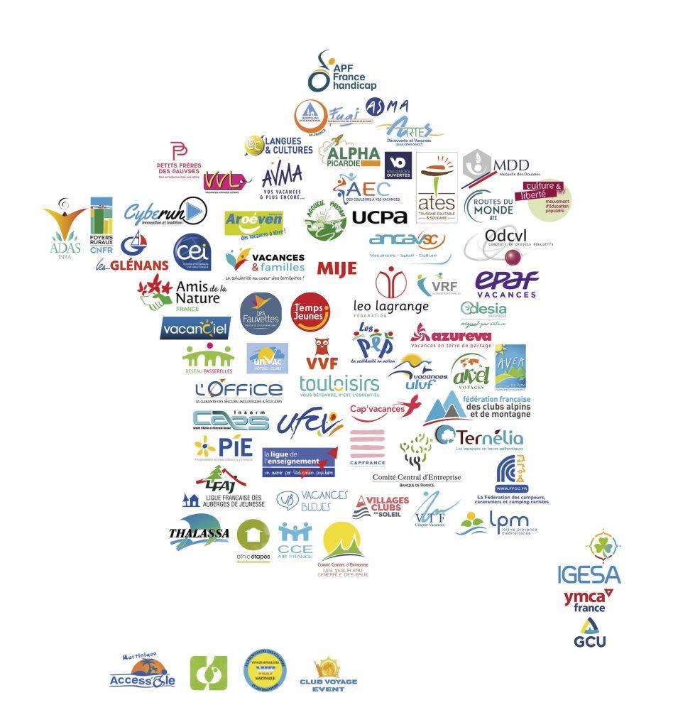 la carte de france des logos des adherents de l'UNAT