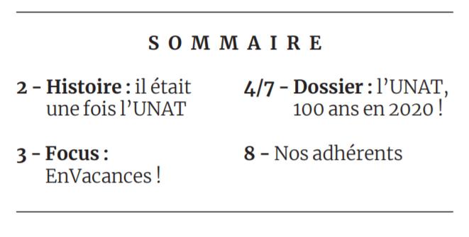 Sommaire du dossier 'les 100 Ans de l'UNAT'