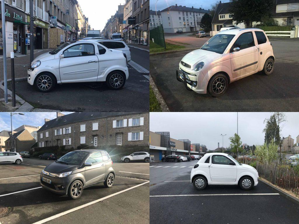 Montage de photos de voitures sans permis garées dans la ville d'Avranches, Manche.
