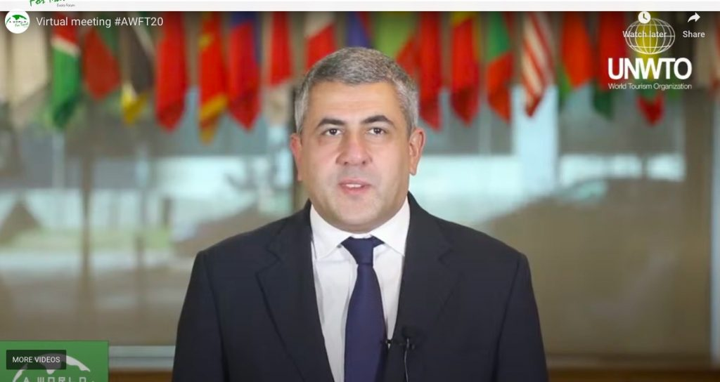 Zurab Pololikashvili, secrétaire général de l'UNWTO, intervient lors de la conférence virtuelle #AWFT20