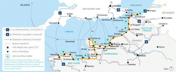 Carte de l'itinéraire de la Vélomaritime
