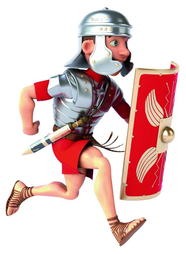 Un légionnaire armé court